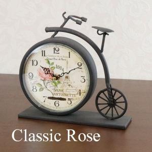 クラシックローズ置時計 置き時計 69136 クロック ねこ ネコ キャット おしゃれ 北欧 アメリカン雑貨 かわいい インテリア時計 Fantasuto|lifemaru