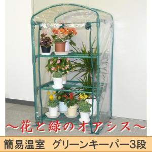 組立式簡易温室 グリーンキーパー3段 工具不要 #7500 花と緑のオアシス 花鉢収納 ラックとカバーセット ガーデニング 庭 プランター 小型ビニールハウ 園芸|lifemaru