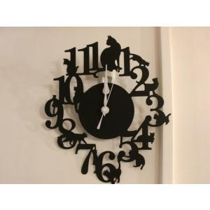 猫掛時計 壁掛け時計 ウォールクロック  AKT3801 ねこ ネコ キャット おしゃれ 北欧 アメリカン雑貨 かわいい インテリア時計 Fantasuto|lifemaru