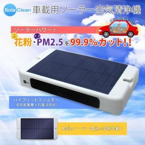 車載用ソーラー空気洗浄機 大型ソーラー電池でいつでも快適 花粉/PM2.5/99.9%カット カーエアークリーナー 車載用空気清浄機 lifemaru