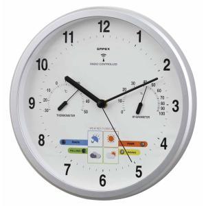 1台4役(お天気予測・温度・湿度計付き掛け時計)ウェザーパル電波時計 壁掛け時計 熱中症対策 1038529 ウォールクロック 北欧 アメリカン かわいい おしゃれ|lifemaru