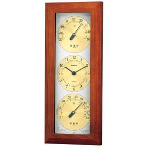 天然木 ウェザータイム温度・時計・湿度計付き掛け時計  壁掛け時計 熱中症対策 683300 ウォールクロック 北欧 アメリカン かわいい おしゃれ|lifemaru