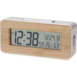 アデッソ 竹の電波時計 T-01 温度表示/湿度表示 置時計 クロック 置き時計 オシャレ 北欧 アメリカン雑貨 かわいい インテリア時計 shiragikuF8108-R07|lifemaru