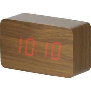 ウッド調LEDクロック 181344 ブラウン/ナチュラル デジタル多機能 置き時計 おしゃれ 北欧 ギフト アメリカン雑貨 かわいい 卓上 インテリア時計 srgku|lifemaru