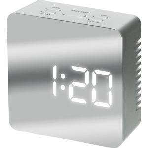 ミラークロック(スクエア) 195945 シルバー/ブラック デジタル 置き時計 おしゃれ 北欧 ギフト アメリカン雑貨 かわいい 卓上 インテリア時計 srgku|lifemaru