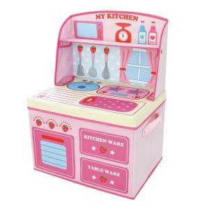 ままごと 収納 ボックス (イチゴキッチン)女の子向き 子供部屋 収納 おままごと お片付け おもちゃ箱 かわいい おしゃれ 家具|lifemaru