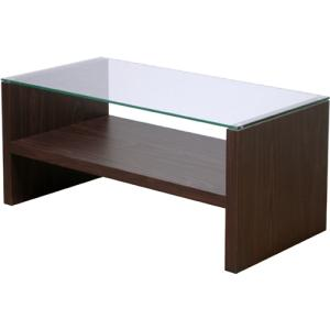 リビングテーブル 中棚付 ガラス天板 モダン テーブル -HAB621- ブラウン ホワイト|lifeplus