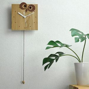かわいい 振り子時計 木製 振子時計 壁掛け時計 ふくろうとねずみ 掛け時計 動物 子供部屋 カワイイ 保育所|lifeplus