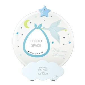 かわいい 名入れギフト 出産内祝い 出産祝い 贈り物 ベビー フォトフレーム ブルー 記念品 プレゼント 写真立て 男の子 青色 あかちゃん 赤ちゃん 出産記念 lifeplus