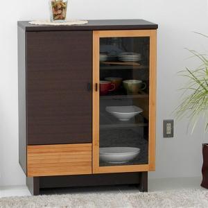 収納 キャビネット 食器棚 幅80cm -FE- ブラウン|lifeplus