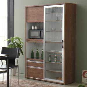 食器棚 引き戸 レンジ台 モダン キッチンボード 幅118cm -FALK- ブラウン|lifeplus
