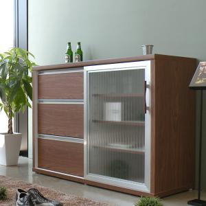 キッチンカウンター スライド扉 カウンターボード 幅118cm -FALK- ブラウン|lifeplus