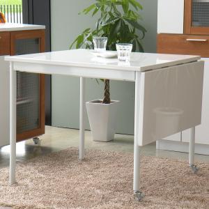 ダイニングテーブル 伸張式 テーブル 84.5-120cm ホワイト 白 -POLKA-|lifeplus