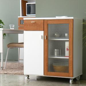 キッチンワゴン キッチンカウンター カウンターワゴン 幅70cm ホワイト -POLKA-|lifeplus