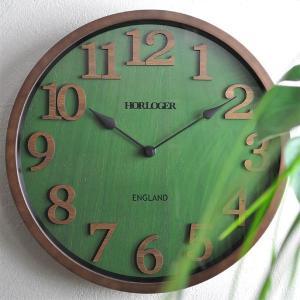 おしゃれ 電波時計 壁掛け時計 ENGLAND 新築祝い 結婚祝い レトロ感 カッコいい 緑色 グリーン お洒落|lifeplus