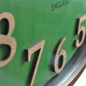 おしゃれ 電波時計 壁掛け時計 ENGLAND 新築祝い 結婚祝い レトロ感 カッコいい 緑色 グリーン お洒落|lifeplus|04