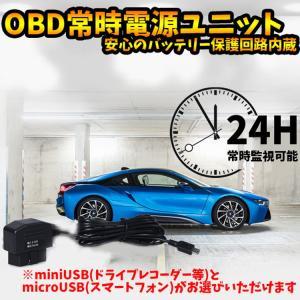 常時電源ユニット バッテリー保護回路 OBD充電変換 miniUSB またはmicroUSB(選択可)  ドライブレコーダー スマートフォン LP-OBD2USBM
