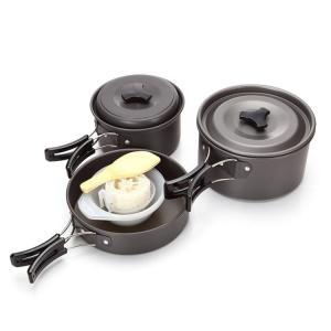 キャンプやBBQなど、アウトドアでの簡単な調理に最適! 熱伝導率の高い軽量アルミ合金製のクッカーやボ...