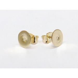 (アクセサリーパーツ・金具) 8mm皿付ポストピアス・キャッチ付き ゴールド 3ペア pg-0652