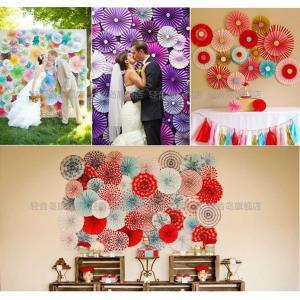 ペーパーファン  パーティー 装飾オーナメント ガーランド  結婚式 パーティ 二次会 誕生日会 ウェディング 8色あり