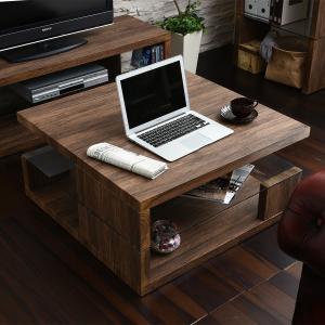 ローテーブル リビングテーブル センターテーブル  リビング 机 ブラウン ホワイト モダン 北欧 ガラス 幅80 【フラッシュ】 木目調 洋室 洋風の写真