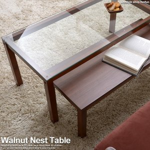 最大1500円OFFクーポン ローテーブル ガラステーブル センターテーブル ネストテーブル シンプル 北欧 おしゃれ 木製 ウォールナットの写真
