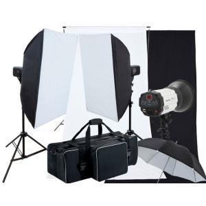 撮影機材 撮影照明 「ヘアサロン撮影キット」ストロボ2灯セット背景付き|light-grafica