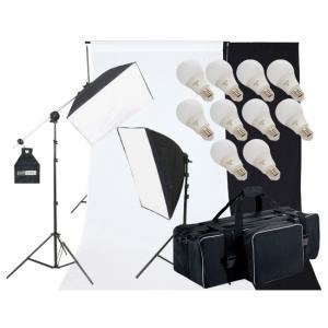 撮影機材 撮影照明 「ヘアサロン撮影キット」LED電球照明2灯セット+背景付|light-grafica