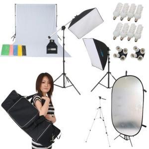 撮影機材 「すぐ撮る」ミディアムフル50×70cm蛍光灯照明2灯+大型レフ板&背景サポートセット 料理や雑貨や人物撮影のライト 背景サポート付|light-grafica
