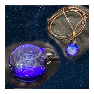 宇宙ガラス ネックレス ブルー|lightheart