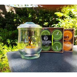 虫よけキャンドル1個とキャンドルグラス、防風リングのセット! 選べるシトロネラティーライト4個入りの香り 屋外用
