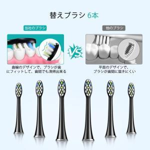 電動歯ブラシ Atmoko 音波歯ブラシ 2020最新版 替えブラシ6本 5種類のモード 2分間オートタイマー機能 低ノイズ USB充電式|lightlyrow