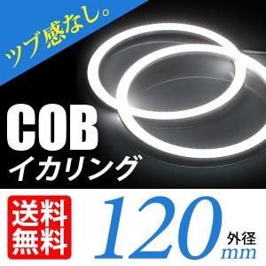 COB イカリング 120mm LED ホワイト/白 エンジェルアイ 拡散カバー付 2個セット|lightning