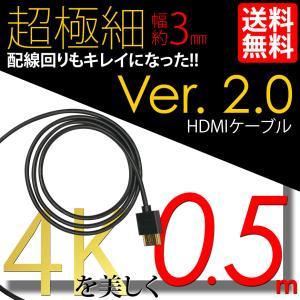 スーパースリム HDMIケーブル 0.5m 50cm 極細 ケーブル直径約3mm Ver2.0 4K 60Hz 任天堂switch PS4 XboxOne 送料無料|lightning