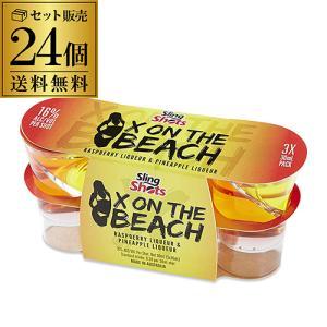 スリングショット エックスオンザビーチ ラズベリーリキュール & パイナップルリキュール 1ケース 30ml×3本入×8パック 16度 リキュール ショット飲み|likaman