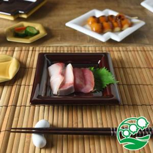 角皿 和食器  おしゃれ 焼き物皿 刺身皿美濃焼 小田陶器 Meji(メジ) 取皿 角通し 漆釉 スズラン|lilly2016
