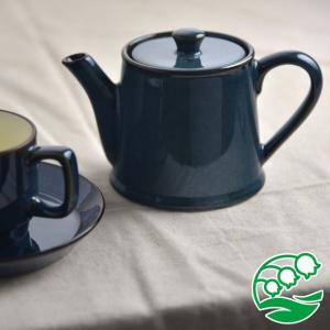 ティーポット おしゃれ 北欧 洋食器 美濃焼 北欧ブルー  ティーポット 茶こし付き スズラン|lilly2016