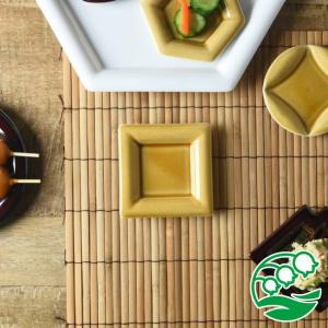 角皿 豆皿 おしゃれ 和食器 美濃焼 小田陶器 Meji(メジ) 豆皿 角通し 飴色(ライトブラウン) スズラン|lilly2016