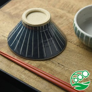 お茶碗 おしゃれ ご飯茶碗 手しごと 13cm 富士山型茶碗 藍色 十草 和食器 美濃焼 テーブルウエア キッチン 飯碗 スズラン|lilly2016