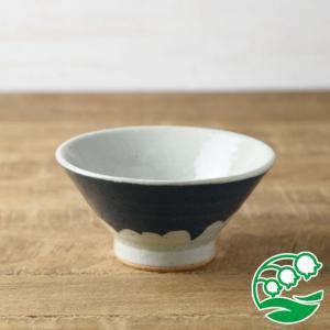 お茶碗 おしゃれ ご飯茶碗 手しごと 13cm 富士山型茶碗 藍色 富士山 和食器 美濃焼 テーブルウエア キッチン 飯碗 スズラン|lilly2016