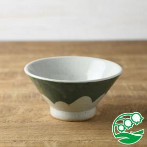 お茶碗 おしゃれ ご飯茶碗 手しごと 13cm 富士山型茶碗 緑色 富士山 和食器 美濃焼 テーブルウエア キッチン 飯碗 スズラン|lilly2016