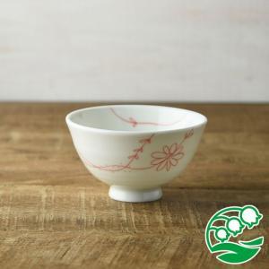 お茶碗 おしゃれ ご飯茶碗 フラワーライン 11cm茶碗 レッド 和食器 美濃焼 テーブルウエア キッチン 飯碗 スズラン|lilly2016