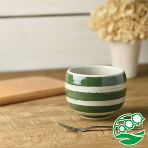 小鉢 手しごと ほっこり デザートカップ みどり マリンボーダー 和食器 美濃焼 おしゃれ デザートカップ スズラン|lilly2016