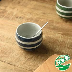 小鉢 デザートカップ おしゃれ 和食器 美濃焼 手しごと ほっこり デザートカップ あい マリンボーダー スズラン|lilly2016