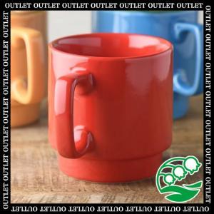 マグカップ おしゃれ プレゼント アウトレット 美濃焼 11.5cmポップカラーのスタックマグカップ 赤 スズラン|lilly2016