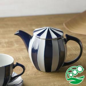 ティーポット おしゃれ 陶器 洋食器 美濃焼 サーカステント ティーポット インディゴブルー スズラン|lilly2016