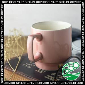 アウトレット 洋食器 マグカップ 美濃焼 11.5cm塗り分けピンクスタックマグカップ アメ色 スズラン|lilly2016
