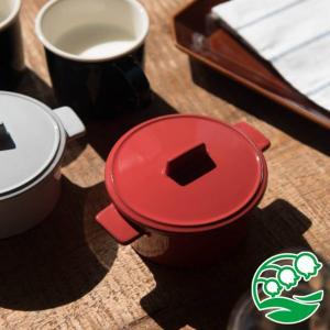 グラタン皿 おしゃれ 洋食器 美濃焼 トリコロール・グリル 蓋付きココット レッド スズラン