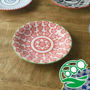 小皿 取り皿 おしゃれ 洋食器 美濃焼 ジャポネスク 16.5cm取り皿 朱梅 スズラン|lilly2016