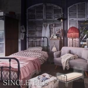 シングルベッド スチール ウッドスプリング ベッドフレーム 寝具 簡単組み立て 寝室 白家具 イタリア 家具 姫系 子供部屋 一人暮らし B-30S-BK lily-birch